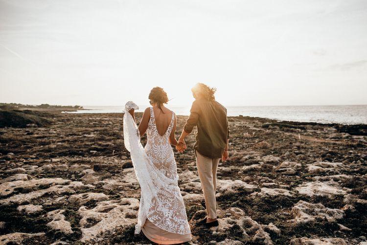 Coastal golden hour portraits for intimate Mallorca elopement