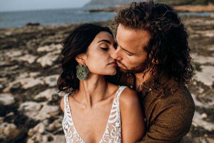 Intimate wedding portrait at Mallorca beach elopement