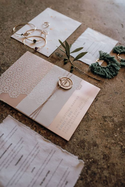Pink and white wedding stationery suite with wax seal for Mallorca elopement