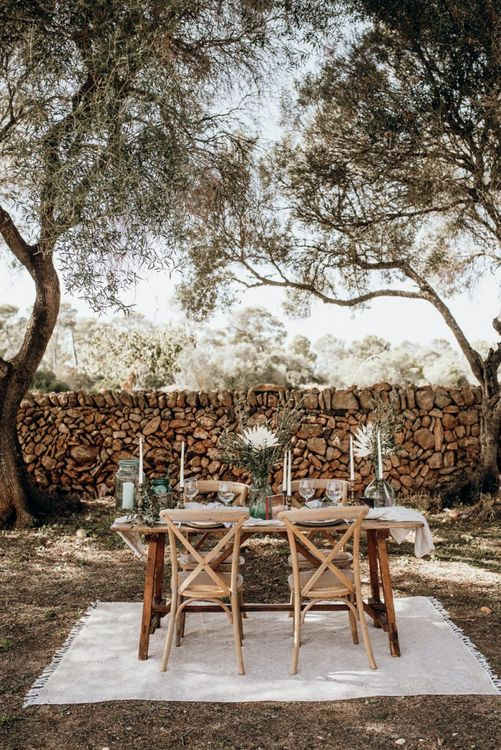 intimate table setting at Mallorca elopement