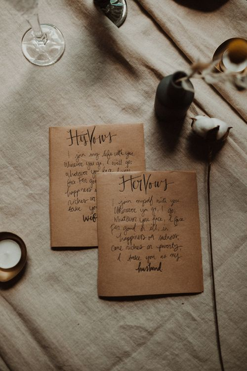 Calligraphy His and Hers Wedding Vows