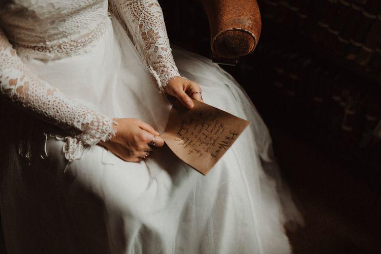 Bride in Separates Reading Her Wedding Vows