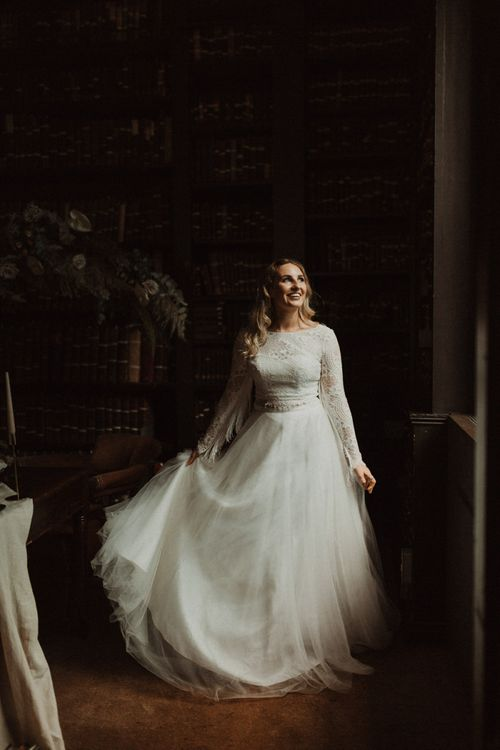 Boho Bride in Bridal Separates with Lace Top and Chiffon Skirt
