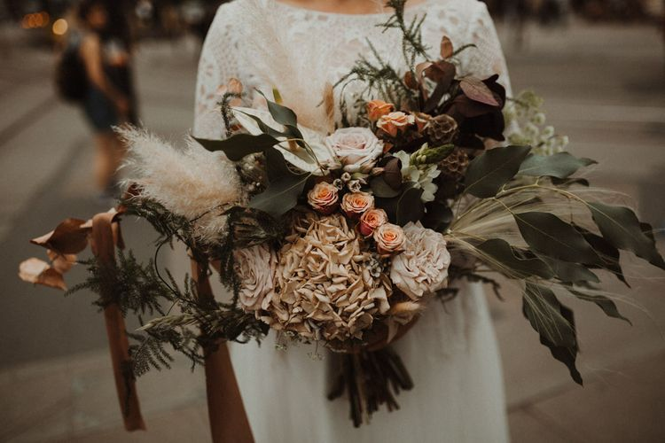 Oversized Dried Flower Wedding Bouquet with Hydrangea, Pampas Grass, Roses and Foliage