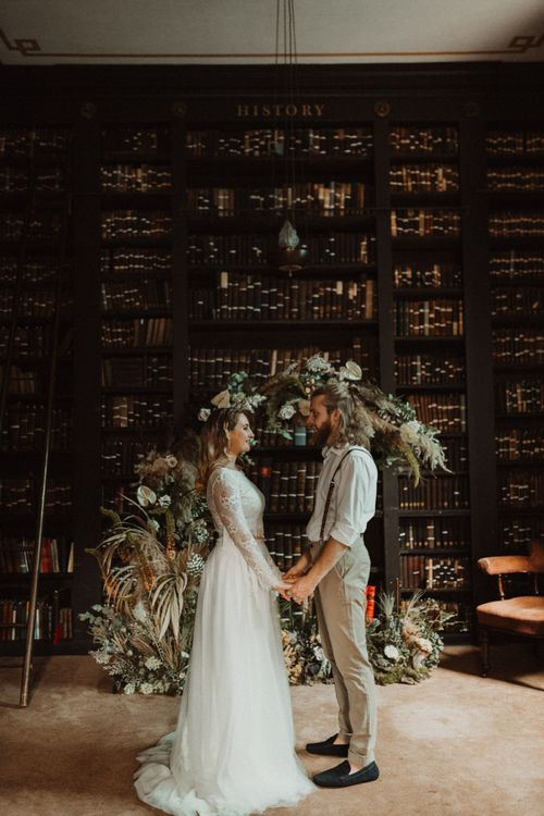 Elopement Wedding Ceremony with Bride Separates and Groom in Chinos and Braces