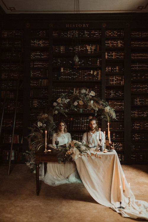 Elopement Wedding at Portico Library in Manchester with  Dried Flower Floral Arch and Sweetheart Table