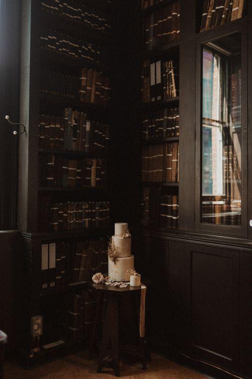 Wedding Cake Table with Romantic Quote Decor