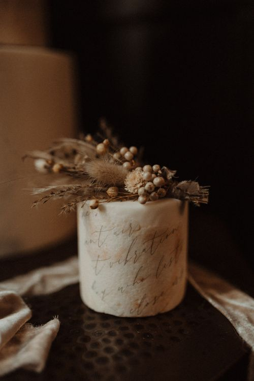 Small One Tier Wedding Cake with Quote Detail and Dried Flower Topper