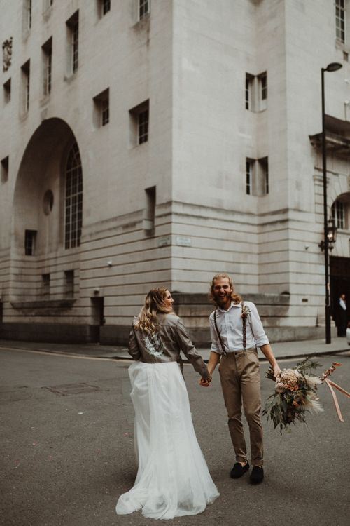 Boho Bride and Groom with Bride in Separates and Leather Jackets and Groom in White Shirt and Braces