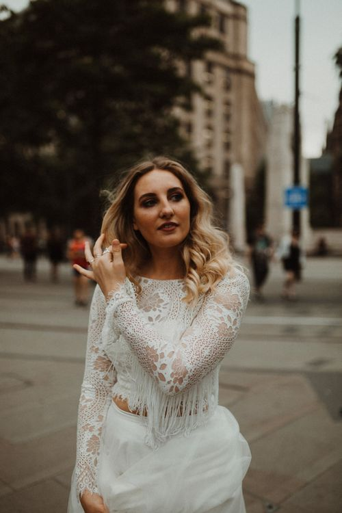 Boho Bride in Separates with Lace and Fringe Top and Tulle Skirt