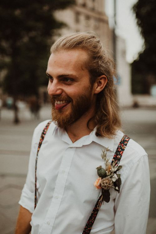 Boho Groom with Top Knot in in Floral Braces