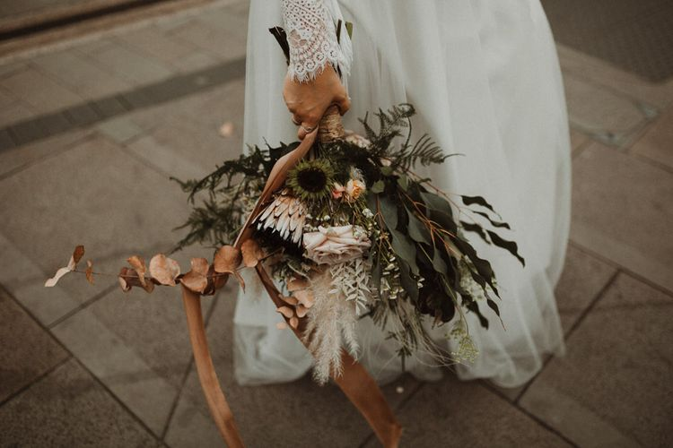 Neutral Bridal Bouquet with Proteas, Roses, Dried Flowers and Foliage