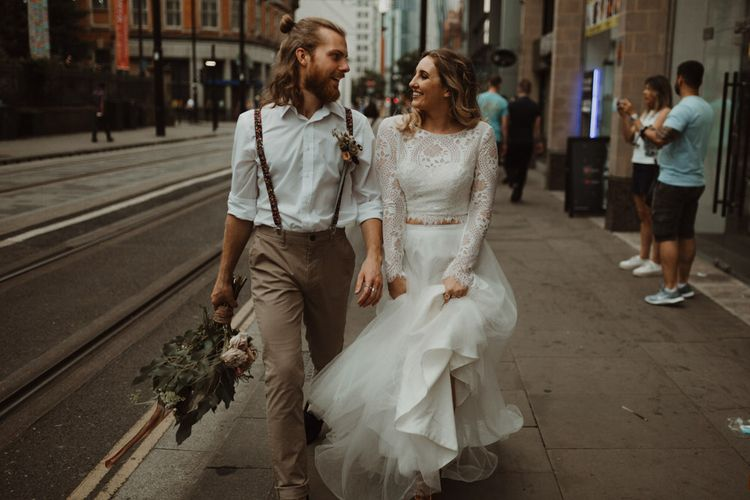 Boho Bride and Groom Walking Through Manchester Streets