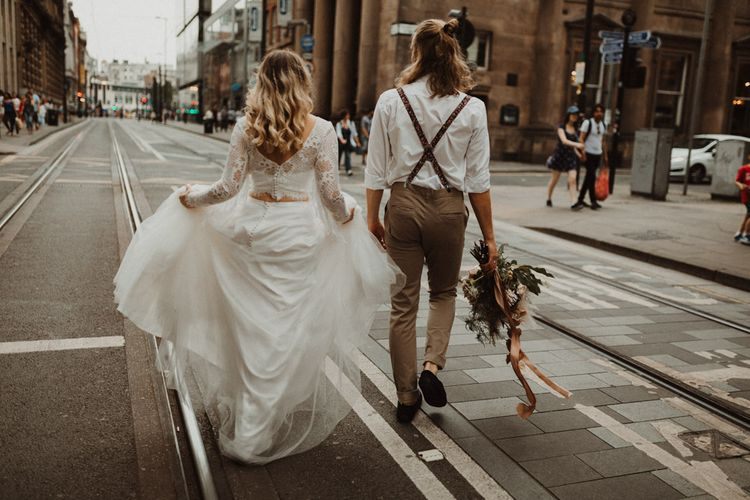 Boho Bride and Groom with Bride in Separates and Groom in White Shirt and Braces