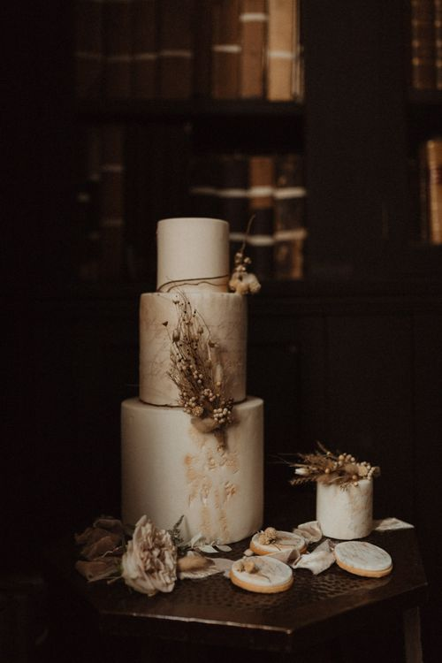 Little Button Bakery Boho Wedding Cake with Dried Flower Decor