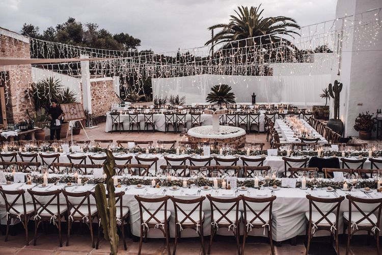 Outdoor wedding reception at Las Cicadas in Ibiza
