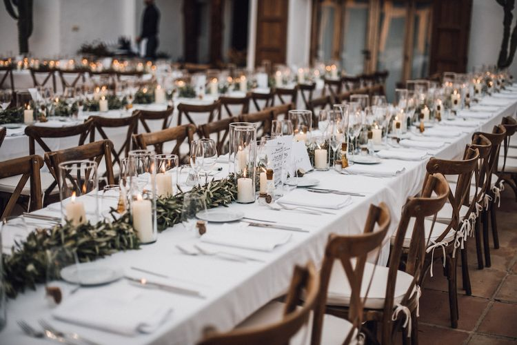 Foliage table runner and candle centrepiece