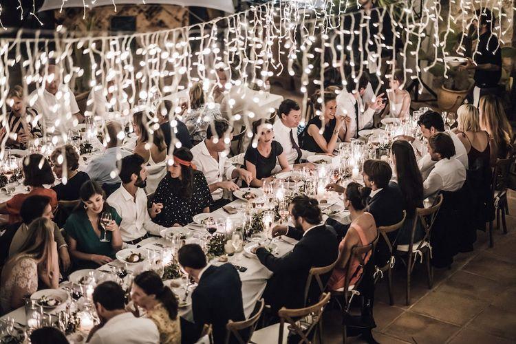 Twinkling fairy lights decor at Ibiza wedding