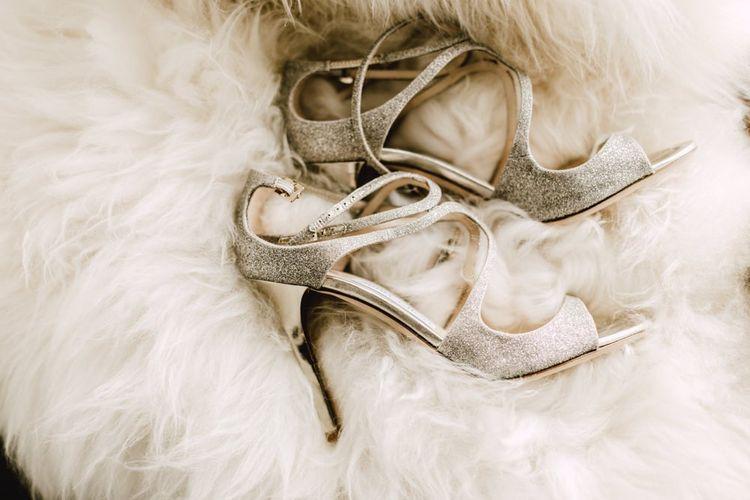 Glittery Jimmy Choo bridal shoes at Wales wedding venue