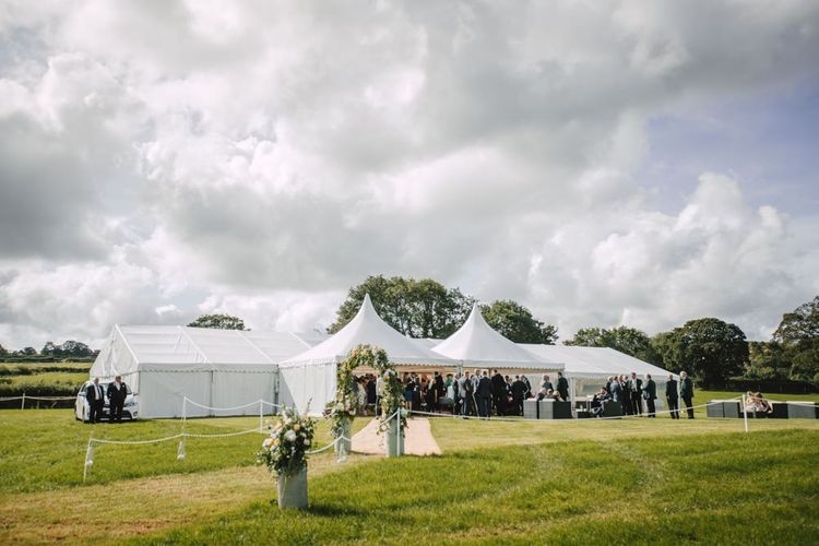 Marquee receptions at Wales wedding venue in Autumn with equestrian details
