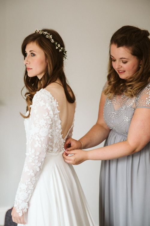Wedding Morning Bridal Preparations with Bride in Emma Beaumont Wedding Dress