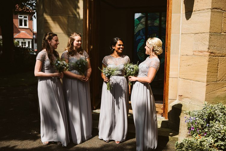 Bridesmaids in Grey Quiz Clothing Dresses with Embellishment