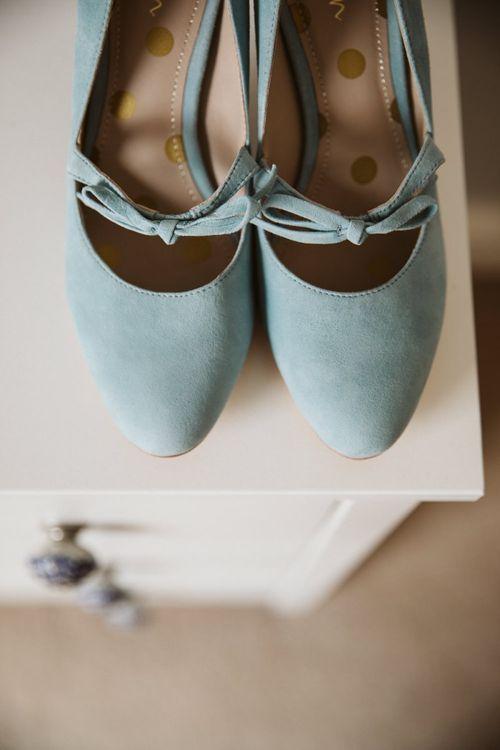 Pale Blue Boden Suede Bridal Shoes