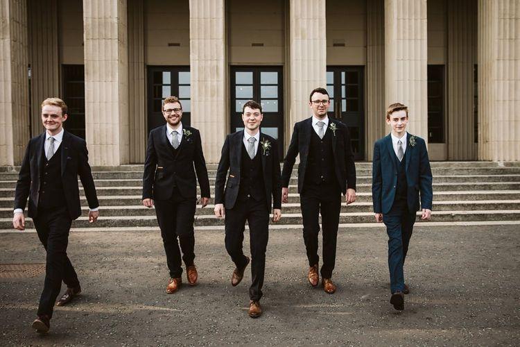Groomsmen in Dark Suits with Brown Brogues