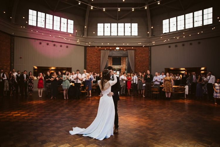 First Dance with Bride in Emma Beaumont Wedding Dress and Groom in Dark Suit