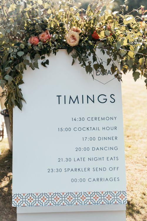 Large Format Stationery Printing, Timings for Wedding. Enchanted Forest Theme | Florals and Foliage Installations by Eden by Claire | Quints of Jersey Stationery | Bride Wears Enzoani | Images by Max Burnett