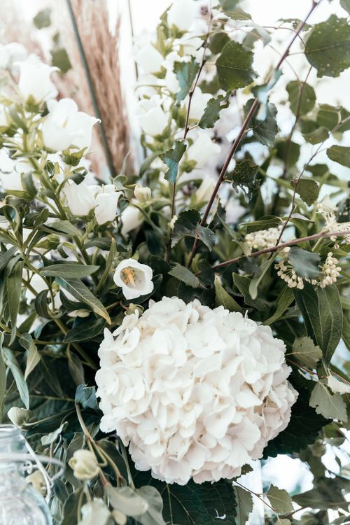 White Hydrangea. Enchanted Forest Theme | Florals and Foliage Installations by Eden by Claire | Quints of Jersey Stationery | Bride Wears Enzoani | Images by Max Burnett