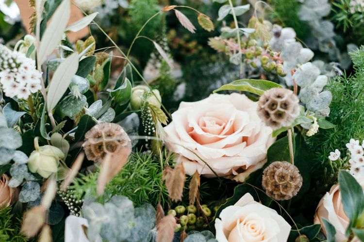 Blush Roses Bridal Bouquet. Enchanted Forest Theme | Florals and Foliage Installations by Eden by Claire | Quints of Jersey Stationery | Bride Wears Enzoani | Images by Max Burnett