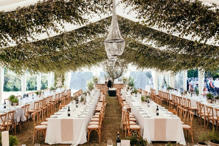 Greenery Foliage Installation for Marquee. Enchanted Forest Theme . Florals and Foliage Installations by Eden by Claire | Quints of Jersey Stationery | Bride Wears Enzoani | Images by Max Burnett