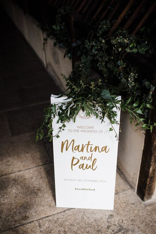 White and Gold Wedding Welcome Sign with Greenery Decor