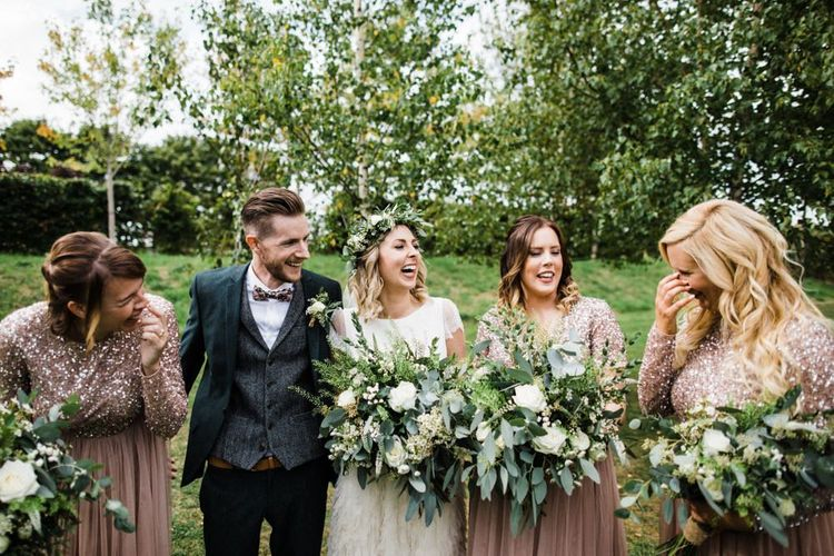 Bride and Groom with Their Bridesmaids in Dusky Pink Sequin and Tulle Maya Dresses from ASOS