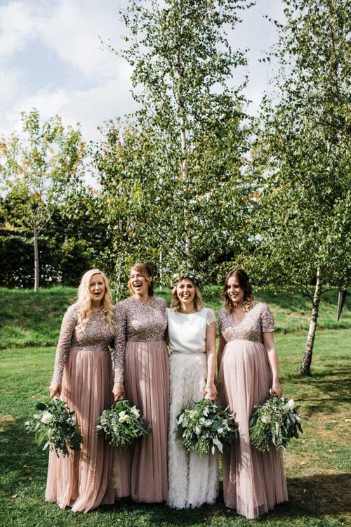 Bridal Party Portrait with Bridesmaids in Pink Maya Dresses and Bride in Halfpenny London Swan Tulle Petal Bridal Skirt and Separate Top