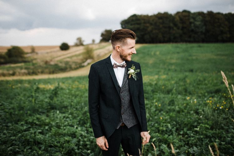 Groom in Selected Homme Wool Suit and Bow Tie