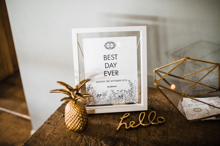 Best Day Ever Wedding Stationery Sign in a White Frame