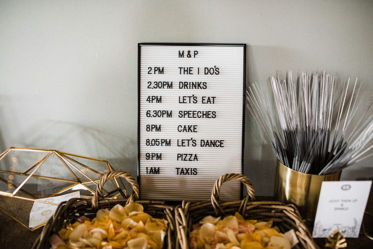 Black and White Order of the Day Peg Board Wedding Sign