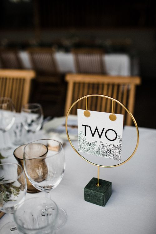 Gold Round Table Number Holder