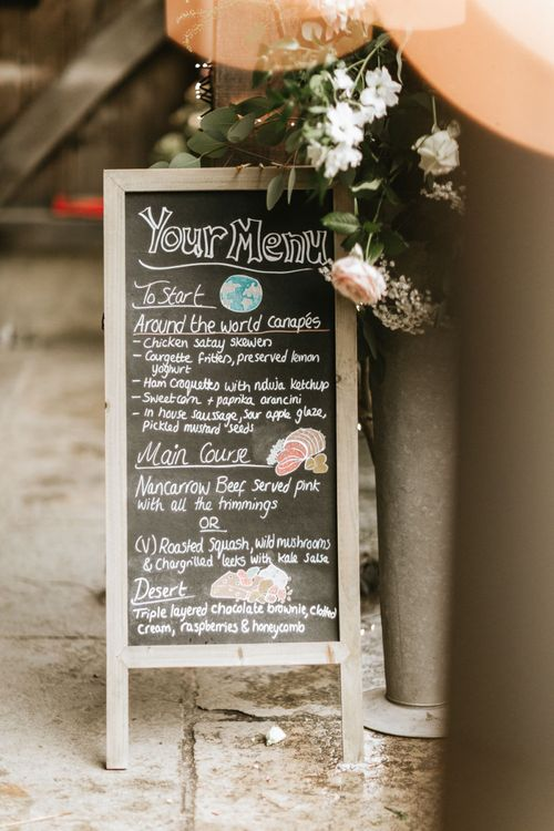 Chalkboard wedding signs and travel themed menu