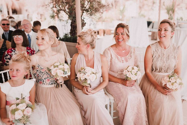 Wedding Ceremony | Bridesmaids in Different Blush Dresses | Blush Pink & White Marbella Beach Wedding at El Chiringuito, Puente Romano |  Kino Ortega Photographer