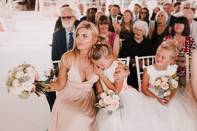 Wedding Ceremony | Bridesmaids & Flower Girl Daughter | Blush Pink & White Marbella Beach Wedding at El Chiringuito, Puente Romano |  Kino Ortega Photographer