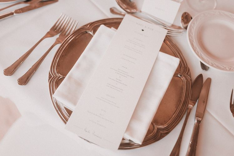 Silver Platter & Menu Card Place Setting | Wedding Decor | Blush Pink & White Marbella Beach Wedding at El Chiringuito, Puente Romano |  Kino Ortega Photographer