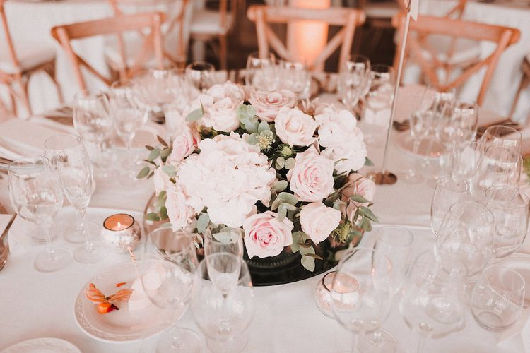 Pink & White Rose Floral Arrangement | table Centrepiece | Wedding Decor | Blush Pink & White Marbella Beach Wedding at El Chiringuito, Puente Romano |  Kino Ortega Photographer