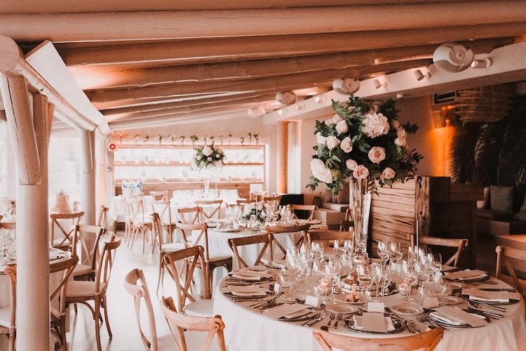 Elegant Pink & White Reception Decor | Blush Pink & White Marbella Beach Wedding at El Chiringuito, Puente Romano |  Kino Ortega Photographer