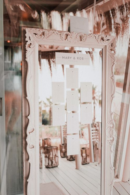Mirror Table Plan | Blush Pink & White Marbella Beach Wedding at El Chiringuito, Puente Romano |  Kino Ortega Photographer