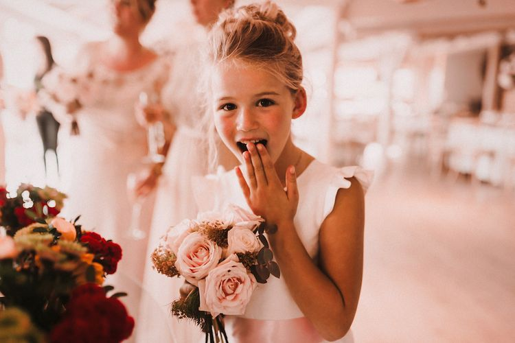 Flower Girl Daughter | Blush Pink & White Marbella Beach Wedding at El Chiringuito, Puente Romano |  Kino Ortega Photographer