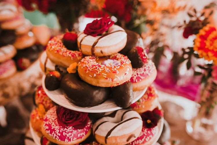 Doughnut Wedding Cake Tower | Blush Pink & White Marbella Beach Wedding at El Chiringuito, Puente Romano |  Kino Ortega Photographer