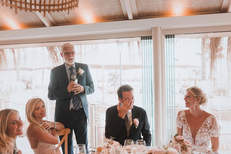 Wedding Reception Speeches | Bride in Embellished Bodice Yaki Ravid Gown | Groom in Armani Suit | Blush Pink & White Marbella Beach Wedding at El Chiringuito, Puente Romano |  Kino Ortega Photographer